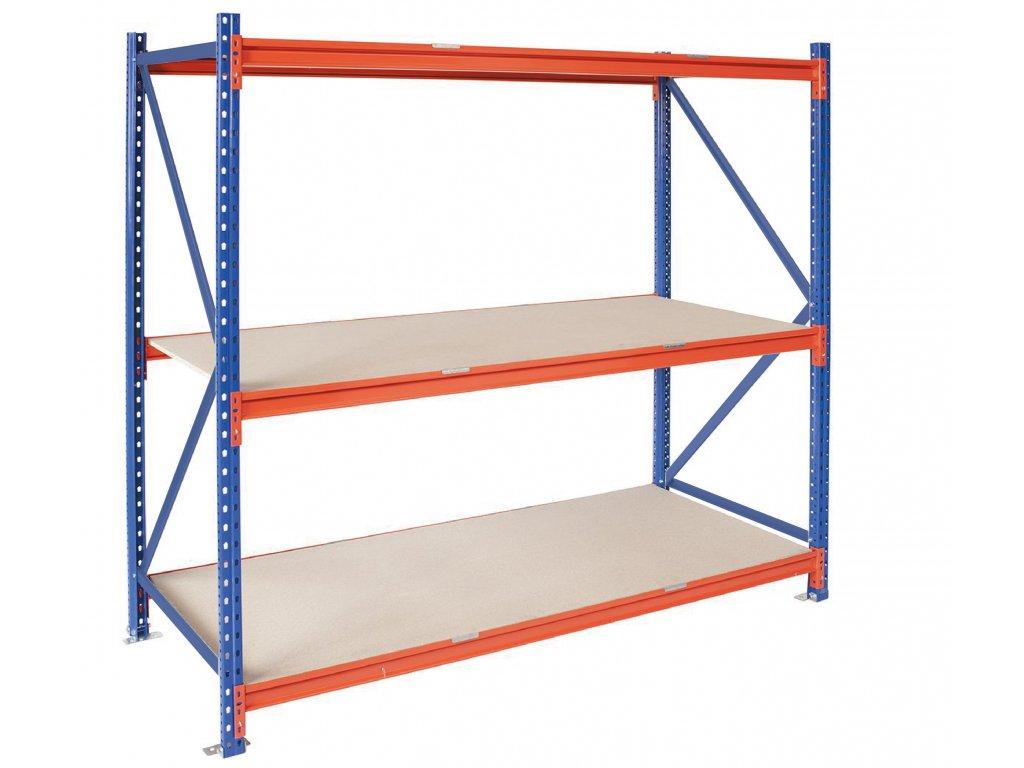Nekonečný PRŮMYSLOVÝ regál 4-úrovňový 2500 x 1825 x 1000 s nosností 2700kg - základní modul