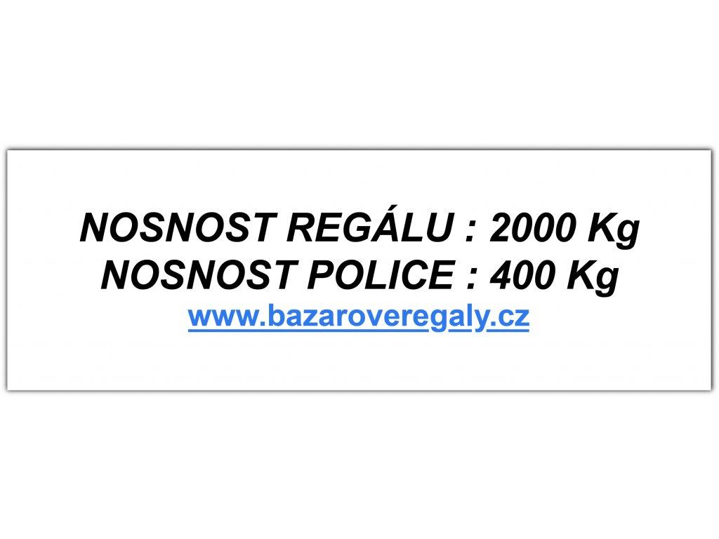 Samolepící štítek pro regál s nosností 2000 kg