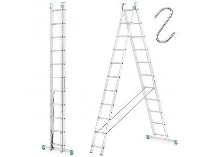 Dvoudílný žebřík 2x11 hliníkový, pracovní výška 6,50m, ALOSS