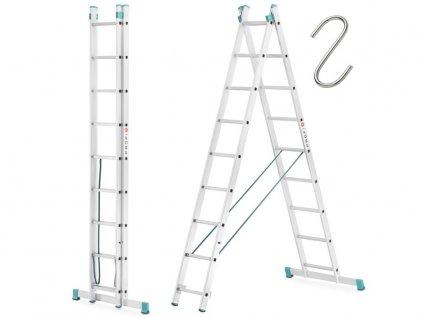 Dvoudílný žebřík 2x9 hliníkový, pracovní výška 5,40m