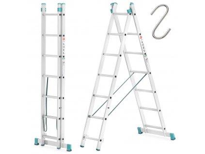 Dvoudílný žebřík 2x7 hliníkový, pracovní výška 4,20m