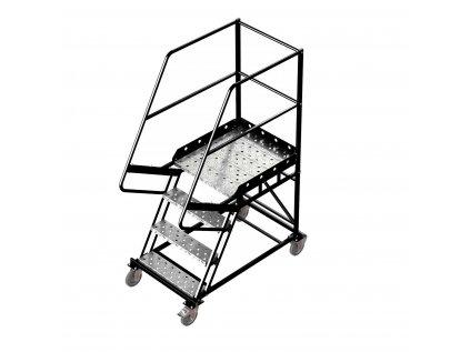Pojízdný žebřík s plošinou, 3 stupně, výška k plošině 1m