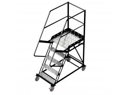 Pojízdný žebřík s plošinou, 4 stupně, výška k plošině 1,25 m