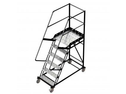 Pojízdný žebřík s plošinou, 5 stupňů, výška k plošině 1,5m