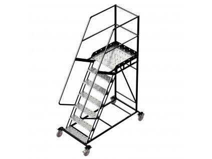 Pojízdný ocelový žebřík s plošinou, 6 stupňů, výška k plošině 1,75 m