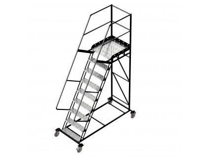 Pojízdný žebřík s plošinou, 8 stupňů, výška k plošině 2,25m