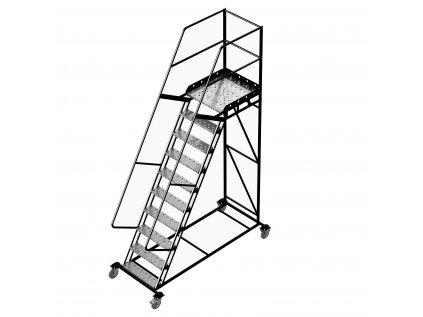 Pojízdný žebřík s plošinou, 9 stupňů, výška k plošině 2,5m