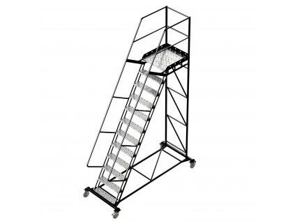 Pojízdný ocelový žebřík s plošinou, 11 stupňů, výška k plošině 3 m