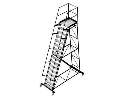 Pojízdný ocelový žebřík s plošinou, 15 stupňů, výška k plošině 4 m