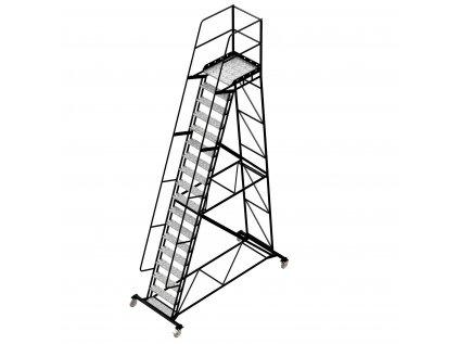 Pojízdný ocelový žebřík s plošinou, 17 stupňů, výška k plošině 4,5 m