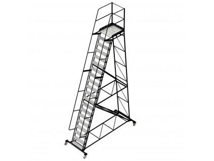 Pojízdný ocelový žebřík s plošinou, 19 stupňů, výška k plošině 5 m