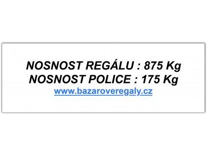 Samolepící štítek pro regál s nosností 875 kg