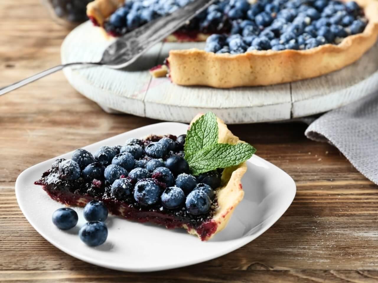 Recept na americký borůvkový koláč s bílým jogurtem