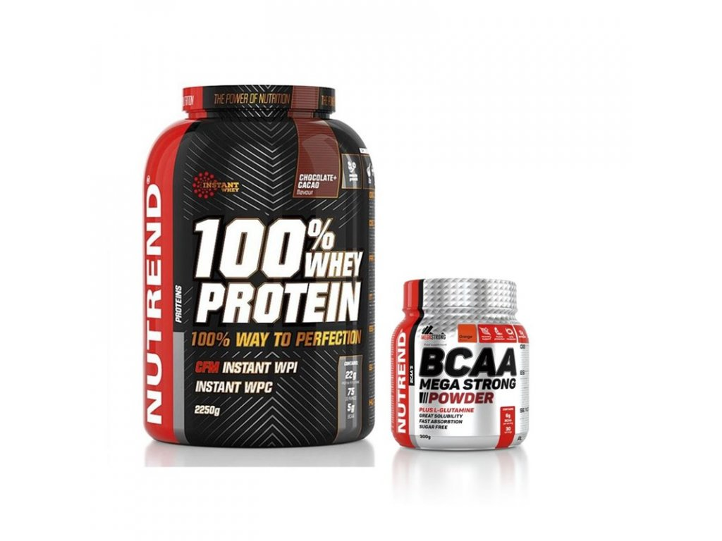 Nutrend 100% Whey Protein 2,25 kg + BCAA Mega Strong 300 g ZDARMA