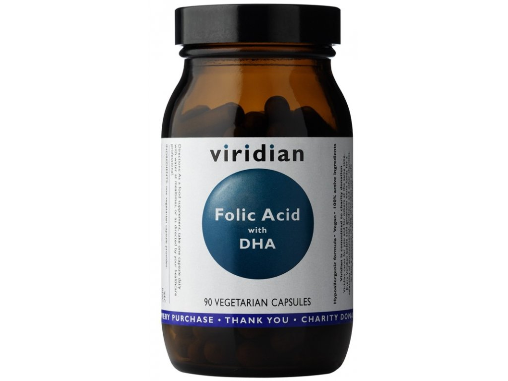 Viridian Folic Acid with DHA 90 kapslí