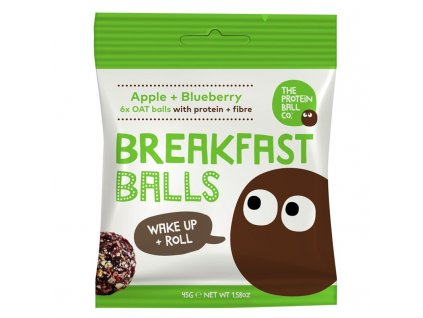 The Protein Ball co Breakfast Protein Balls 45 g (Snídaňové kuličky) apple + blueberry
