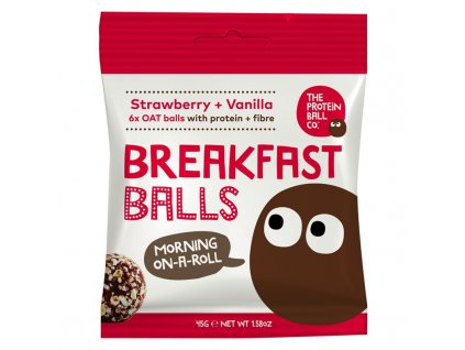 The Protein Ball co Breakfast Protein Balls 45 g (Snídaňové kuličky) strawberry + vanilla