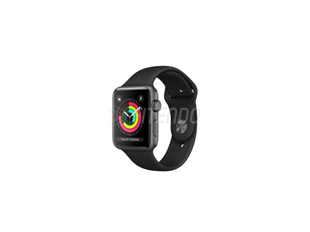 Apple Watch Series 3 42mm Space Grey Aluminium Case Black Sport Band