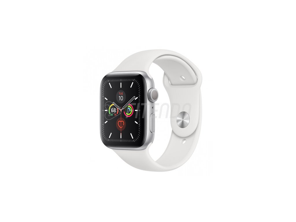 Apple Watch Series 5 44mm Silver Aluminium White Sport Band 01