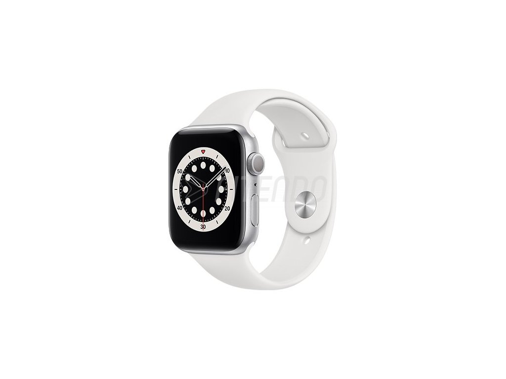 apple watch series 6 gps 44mm silver aluminium case with white sport band regular i107396