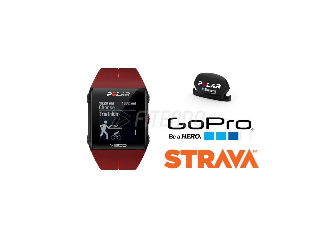 POLAR V800 HR červený Combo  + Zadarmo Polar snímač kadencie a rýchlosti!