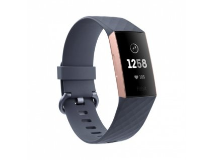 01 Fitbit Charge 3 - Rose Gold / Blue Grey