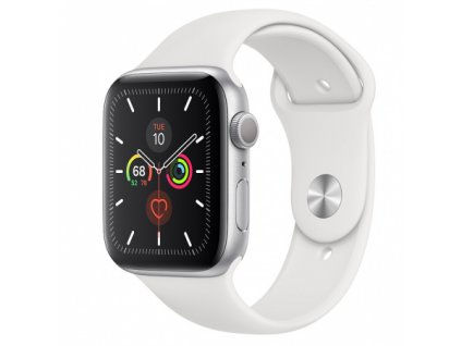 Apple Watch Series 5 44mm Silver Aluminium White Sport Band 01