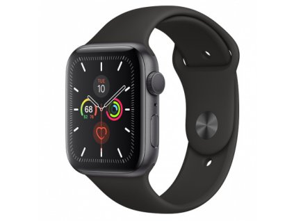 Apple Watch Series 5 44mm Space Grey Aluminium Black Sport Band 01