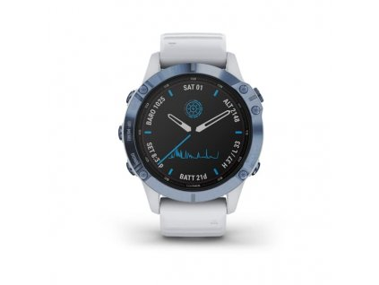 garmin fenix 6 pro solar mineral blue whitestone band 01