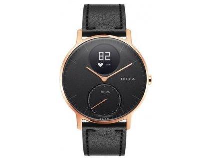 Nokia Steel HR (36mm) Rose Gold w/ Black Leather  + Originálny silikónový remienok zadarmo!