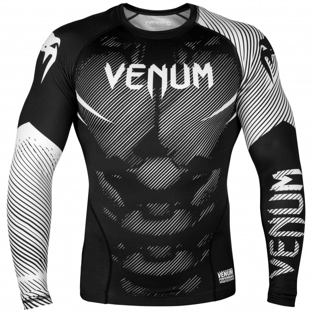 rashguard venum long sleeves nogi black white f1