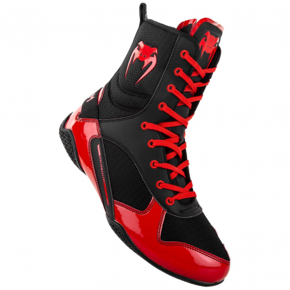 venum 03681 100 boxing shoes boxerske boty elite black red f1