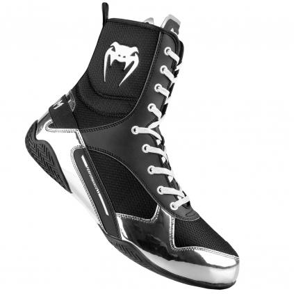 venum 03681 128 boxing shoes elite black silver boxerske boty obuv f1