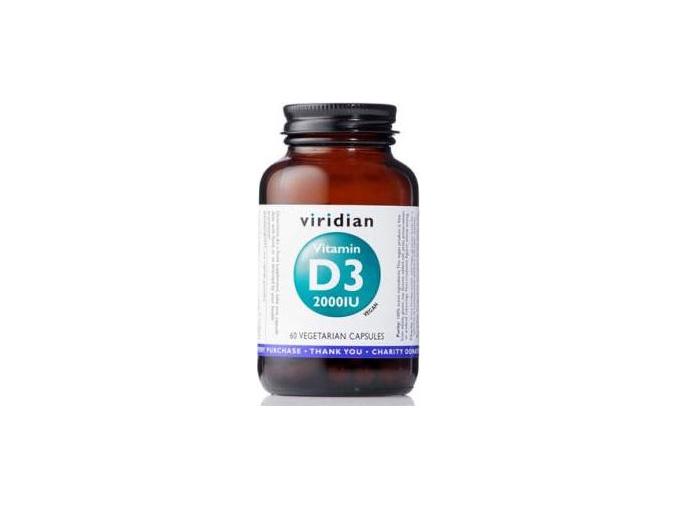 VIRIDIAN nutrition Vitamin D3 2000IU 60 kapslí