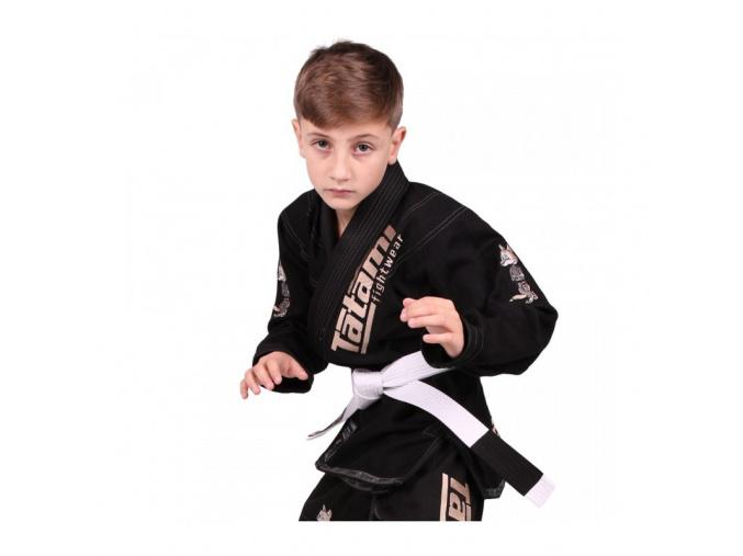 Dětské BJJ kimono / gi NEW MEERKATSU KIDS ANIMAL - ČERNÉ - Tatami Fightwear + bílý pás ZDARMA