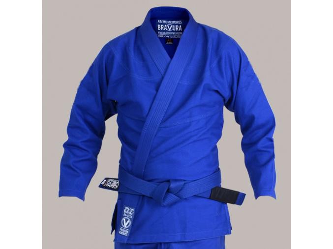 bjj gi kimono valor bravura classic plain modre blue f1