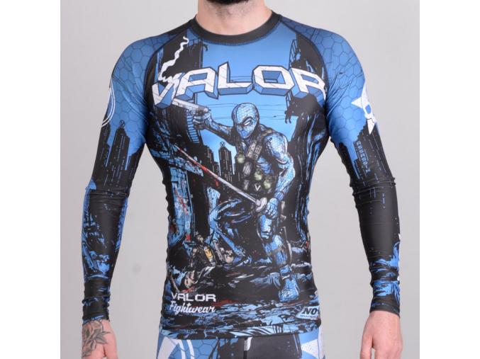 rashguard valor assassin artwork blue f1