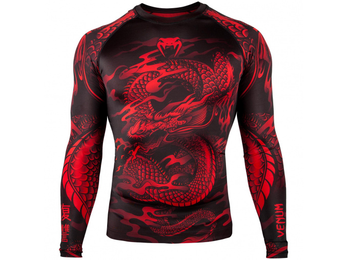 rashguard venum dragons flight black red f11