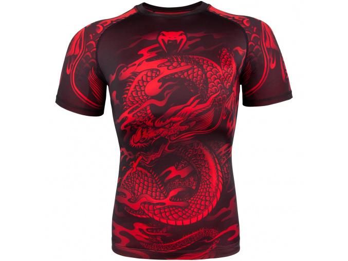 rashguard venum dragons flight black short red f1