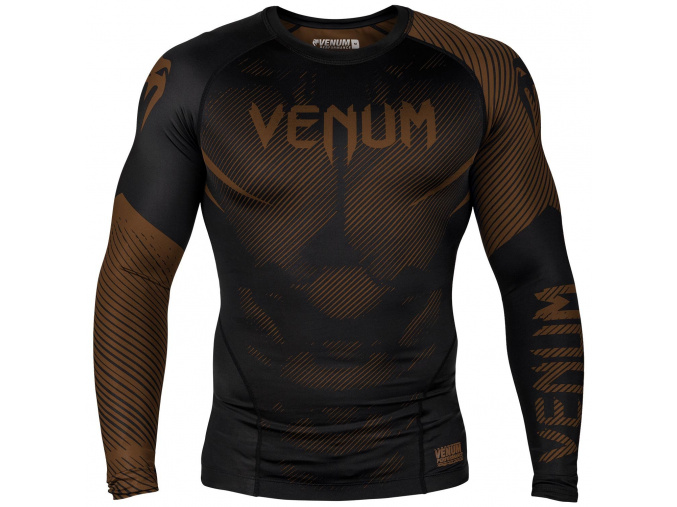 rashguard venum long sleeves nogi black brown f1