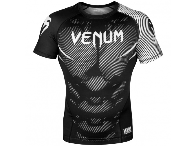 rashguard venum short sleeves nogi black white f1