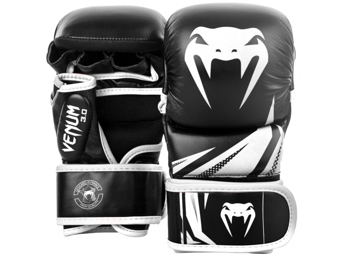 sparring gloves venum challenger black white f1