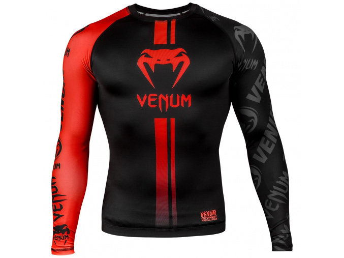 venum 03451 100 s rashguard long sleeve logos black red f1