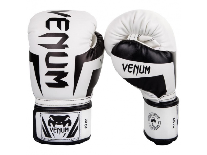 venum 0984 210 boxing gloves elite white black boxerske rukavice f1