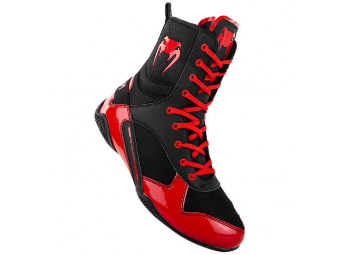 venum 03681 100 boxing shoes boxerske boty elite black red f1