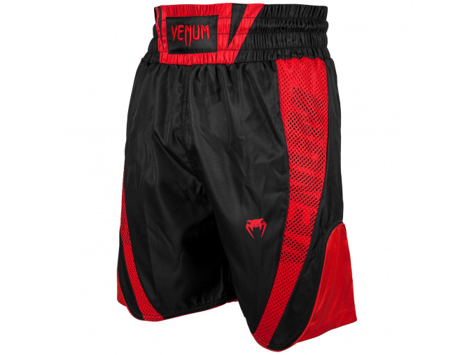venum 03452 100 boxing short elite black red boxerske sortky f1