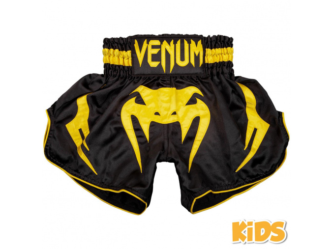 shorts muay thai kids venum inferno black yellow 1