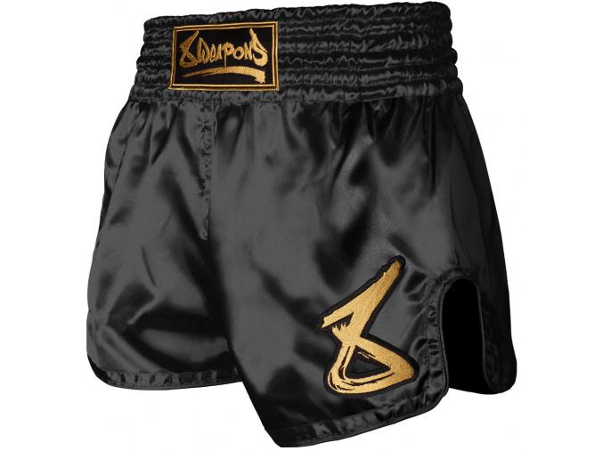8 weapons muay thai shorts strike schwarz gold