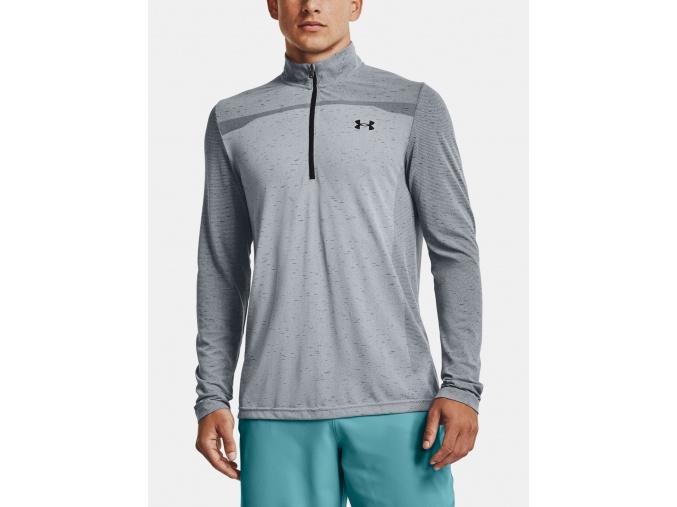 Panske triko dlouhy rukav under armour UA Seamless 1 2 Zip grey f1