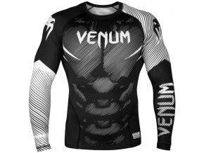 rashguard venum long sleeves nogi black white f1